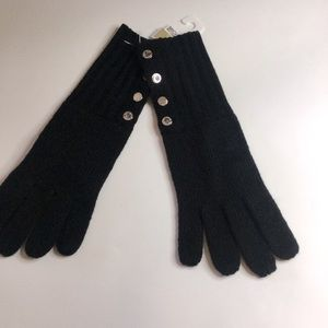 MICHAEL KORS BUTTON UP GLOVES BLACK SILVER NWT